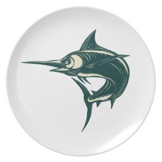 Blue Marlin Jump Scratchboard Plate