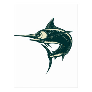 Blue Marlin Jump Scratchboard Postcard