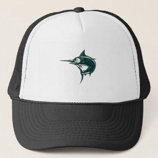 Blue Marlin Jump Scratchboard Trucker Hat