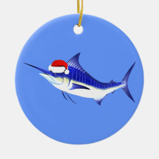 Blue Marlin Santa Claus Ceramic Ornament