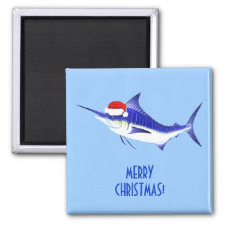 Blue Marlin Santa Claus Magnet