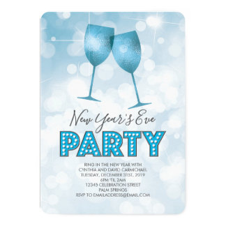 Blue Marquee Lights New Years Eve Party Card