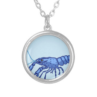 Blue Marron Sketch Silver Plated Necklace