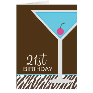 Blue Martini and Zebra Pattern Card