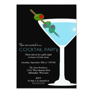 Blue Martini Cocktail Party Invitation