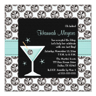"Blue Martini Diamond Bachelorette Party Invitation 5.25"" Square Invitation Card"