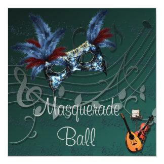 Blue Mask Masquerade Ball Invitation