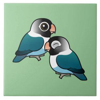 Blue Masked Lovebird Adorable Pair Ceramic Tiles