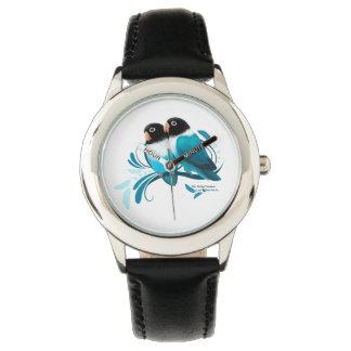 Blue Masked Lovebirds Wrist Watches