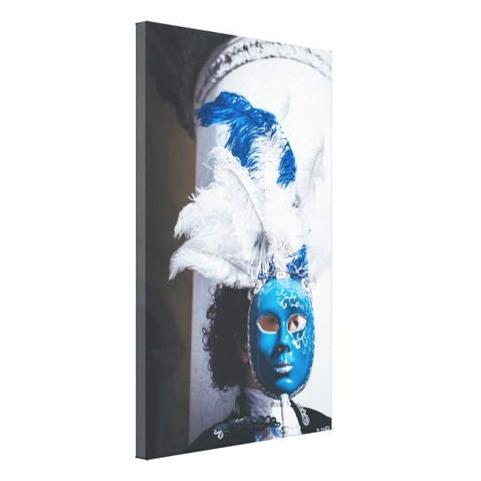 Blue masked woman in Venice carnival Canvas Print