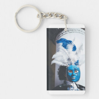 Blue masked woman in Venice carnival Key Ring