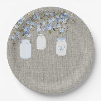 Blue Mason Jar Burlap Boys Baby Shower Paper Plate