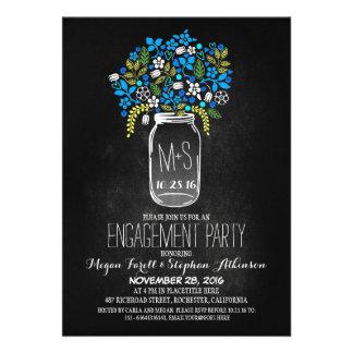 blue mason jar chalkboard engagement party invites