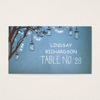 Blue Mason Jar Fireflies String Lights Escort Business Card