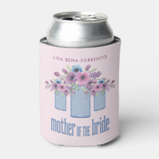 Blue Mason Jar Floral Mother of the Bride Can Cooler