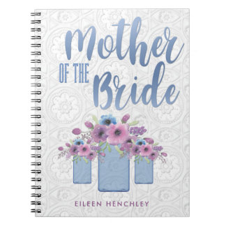 Blue Mason Jar Floral Mother of the Bride Notebook