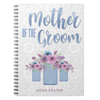 Blue Mason Jar Floral Mother of the Groom Notebook