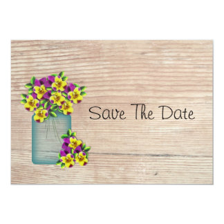 "Blue Mason Jar Pansies Save The Date 5"" X 7"" Invitation Card"