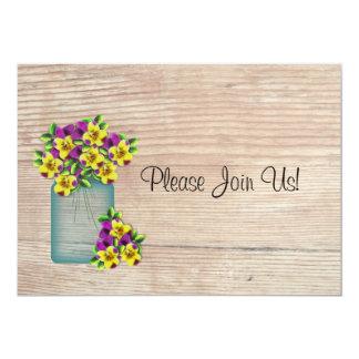 "Blue Mason Jar Pansies Wedding Invitation 5"" X 7"" Invitation Card"