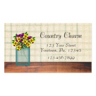 Blue Mason Jar Violas Business Card