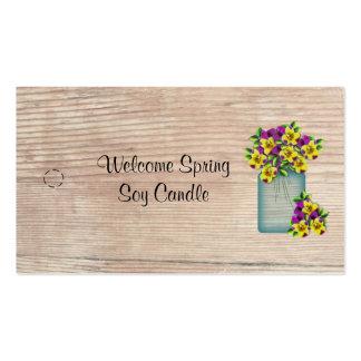 Blue Mason Jar Violas Hang Tag Business Card Templates