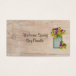 Blue Mason Jar Violas Hang Tag Business Card