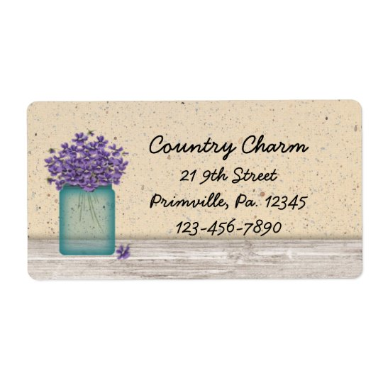 Blue Mason Jar Violets Label Shipping Label