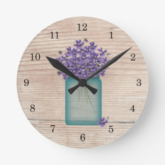 Blue Mason Jar Violets Wall Clock