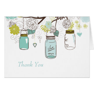 Blue Mason Jars and Love Birds Postage Note Card