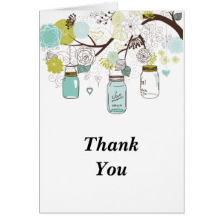 Blue Mason Jars and Love Birds Thank You Note Card