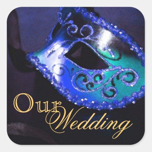 Blue Masquerade Our Wedding Sticker