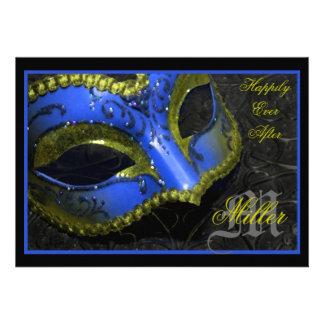 Blue Masquerade Renaissance Wedding Invitation