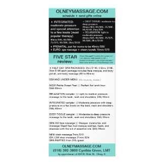 blue massage and spa brochure card rack card template