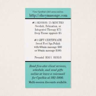 blue massage and spa contact card business