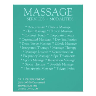 BLUE massage modalities list Poster
