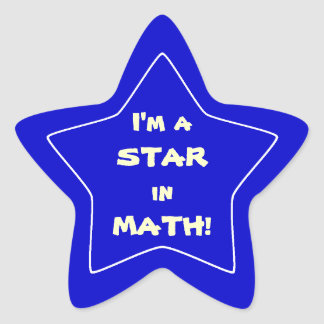 Blue Math Star Student Star Sticker