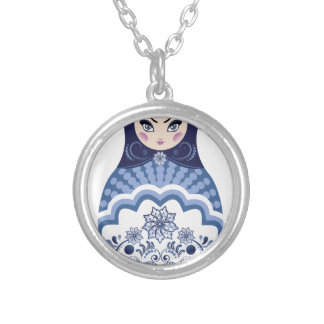 Blue Matryoshka Doll Silver Plated Necklace