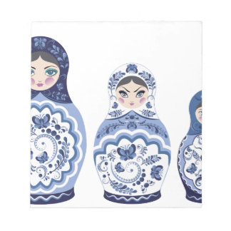 Blue Matryoshka Dolls Notepad