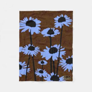 Blue Meadow Blossoms Brown Fleece Blanket