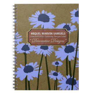 Blue Meadow Blossoms Decor Dark Modern Notebook