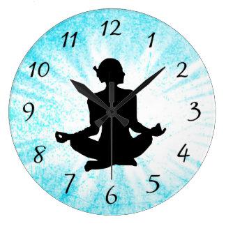 Blue Meditation Women Zen Sun bust Clock