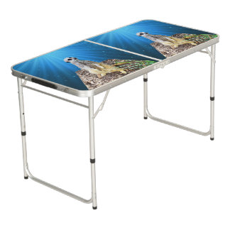 Blue Meerkat Night, Aluminum Folding Table. Beer Pong Table