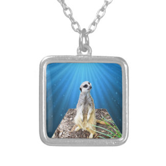 Blue Meerkat Night,_ Silver Plated Necklace