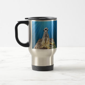 Blue Meerkat Night,_ Travel Mug
