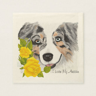 Blue Merle Aussie and Yellow Roses Disposable Serviette