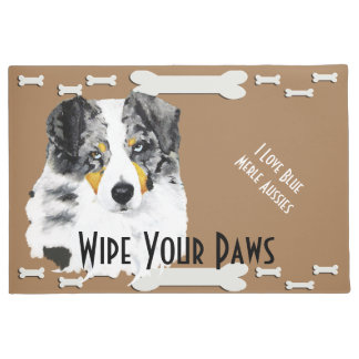 Blue Merle Aussie & Dog Bones Large Doormat