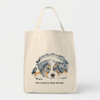 Blue Merle Australian Shepherd Puppy Tote Bag