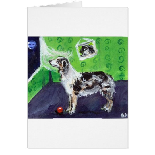 Blue Merle Australian Shepherd senses smiling moon Card