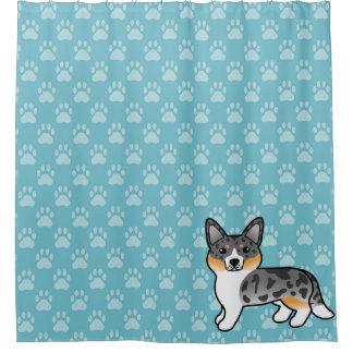 Blue Merle Cardigan Welsh Corgi Dog With Paws Shower Curtain