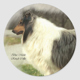 Blue Merle Rough Collie Art Gifts Classic Round Sticker